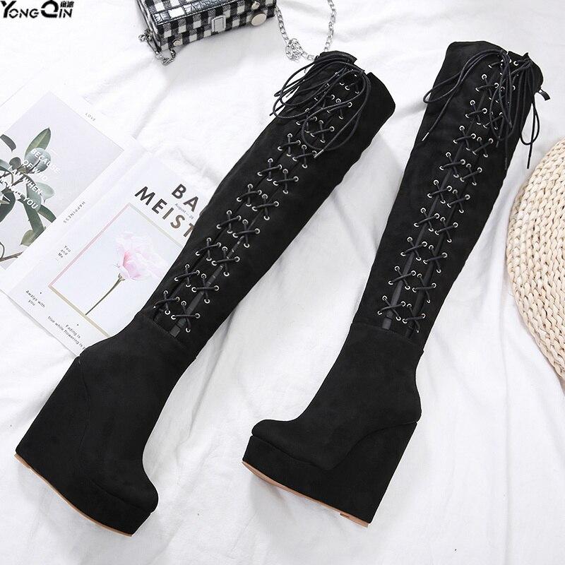 Spring Autumn 15CM super high heel wedge women boots Sexy  platform Womens Boots shoes