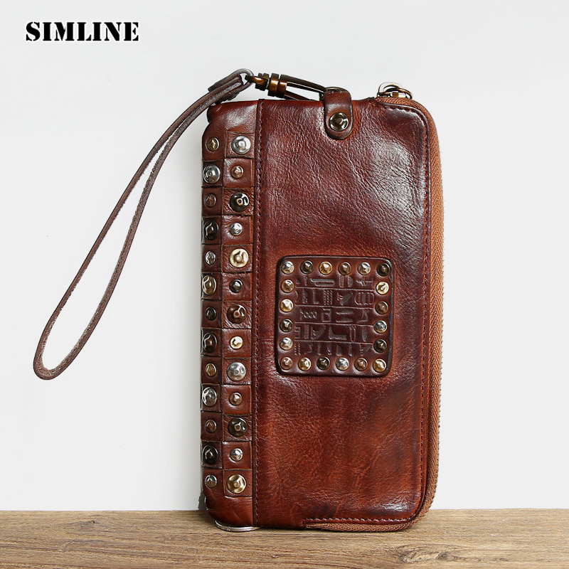 Luxury Brand Handmade Genuine Cowhide Vegetable Tanned Leather Men Wowen Long Slim Wallet Wallets Purse Card Holder Clutch Bag handmade genuine leather wallets carving zebra bag purses women men long clutch vegetable tanned leather wallet card holder