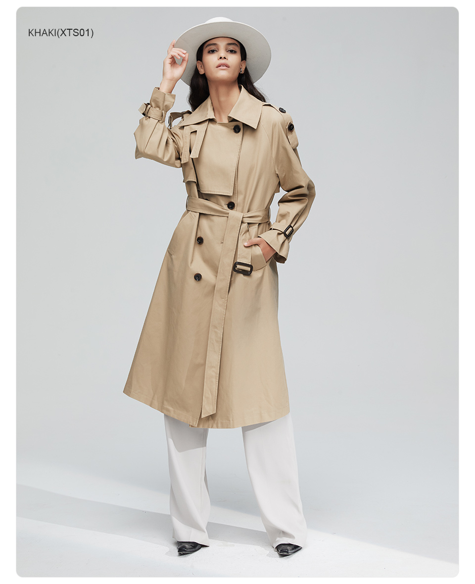 JAZZEVAR 19 New arrival autumn top trench coat women double breasted long outerwear for lady high quality overcoat women 9003 10