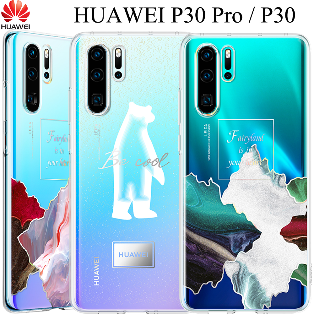 HUAWEI P30 Pro Clear Case P30Pro Double-couche Motif Transparence Couverture Huawei P30 Pro Transparent Placage Tpu Full cas