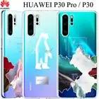 Huawei P30 Pro прозрачный чехол P30Pro двухслойный узор прозрачный чехол huawei P30 Pro прозрачное покрытие мягкий термополиуретановый полностью закрыты...