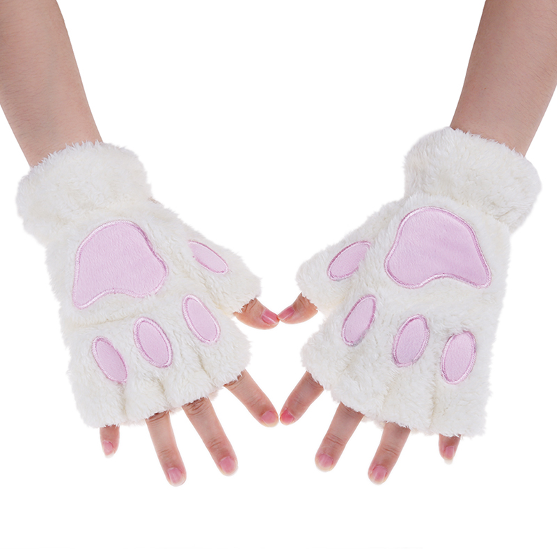 Hot Lovely Women Cat Claw Paw Mitten Plush Glove Costume Cute Winter Warm Half Finger Gloves Women Female Gloves Mitten