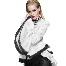 2017 New Women's Gothic Punk Style Vintage Europe&America Palace Lolita Flare Sleeve Blouse Cotton Stand Collar Falbala Shirt