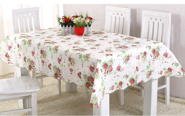 The New Rural Wind PVC Tablecloth Waterproof And Oil Wavy Edge Table Cloth  With Thick Fabric
