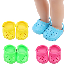 18 inch Girls doll shoes casual beach shoe sandals American new born accessories Baby toys fit 43 cm baby s33