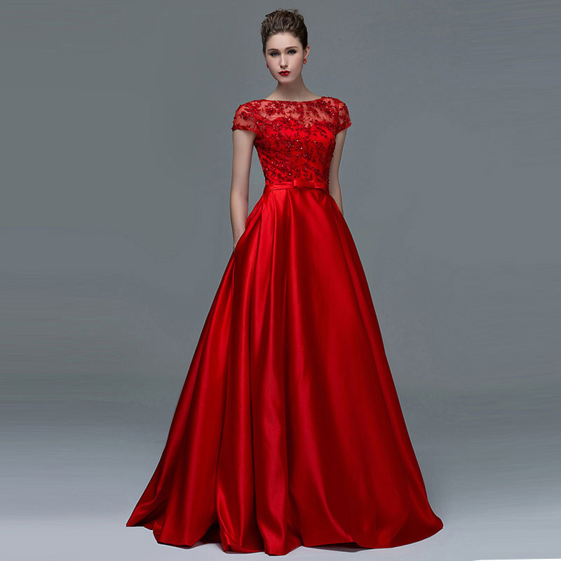 Tanpell Red   Evening     Dress   Short Sleeves Appliques Sequins Lace-up Floor Length Long A Line   Evening     Dress