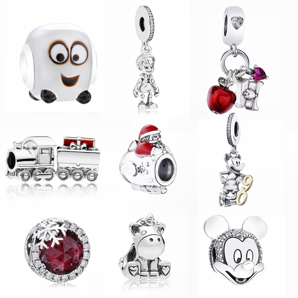 Popular Diy Winter Collection Christmas Theme Red Enamel 925 Real Silver Sleigh Man Charm Fit Bracelet Home & Garden