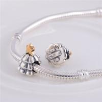 Authentieke 925 Sterling Zilver Kerstboom Bead Met Gouden Ster Fit Originele Pandora Charms Armband sieraden