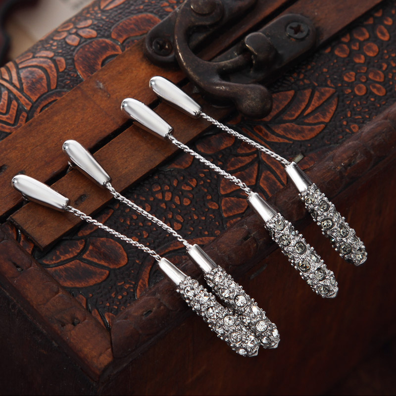 Neoglory Long White Stone Rhinestones Dangle Rumbai Subang untuk - Perhiasan fesyen - Foto 3