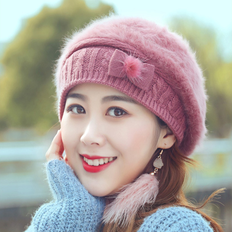 19d369f787887 Rabbit fur hat female winter plus velvet wild beret British simple warm  thick knitted sweater hat female