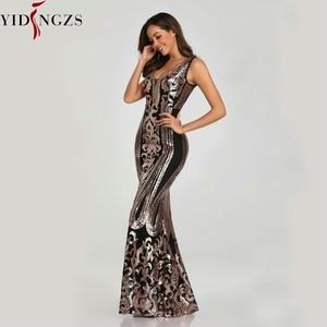 Image 4 - YIDINGZS Neue Perlen Mit V ausschnitt Pailletten Party Formale Kleid Ärmel Sexy Lange Abendkleider Schwarz Goldene YD086
