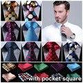 """Ponto 3.4 """"100% Do Casamento De Seda Tecido Jacquard Homens Gravata do laço Bolso Praça Handkerchief Set Suit EDA"""