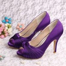 (20สี) Wedopusที่กำหนดเองHandmadeยี่ห้อชื่อสีม่วงรองเท้าแต่งงานรองเท้าส้นสูงพรรคปั๊ม