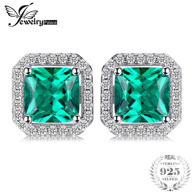 JewelryPalace Square 1.4ct Created Emerald 925 Sterling Silver Stud Earrings Fin