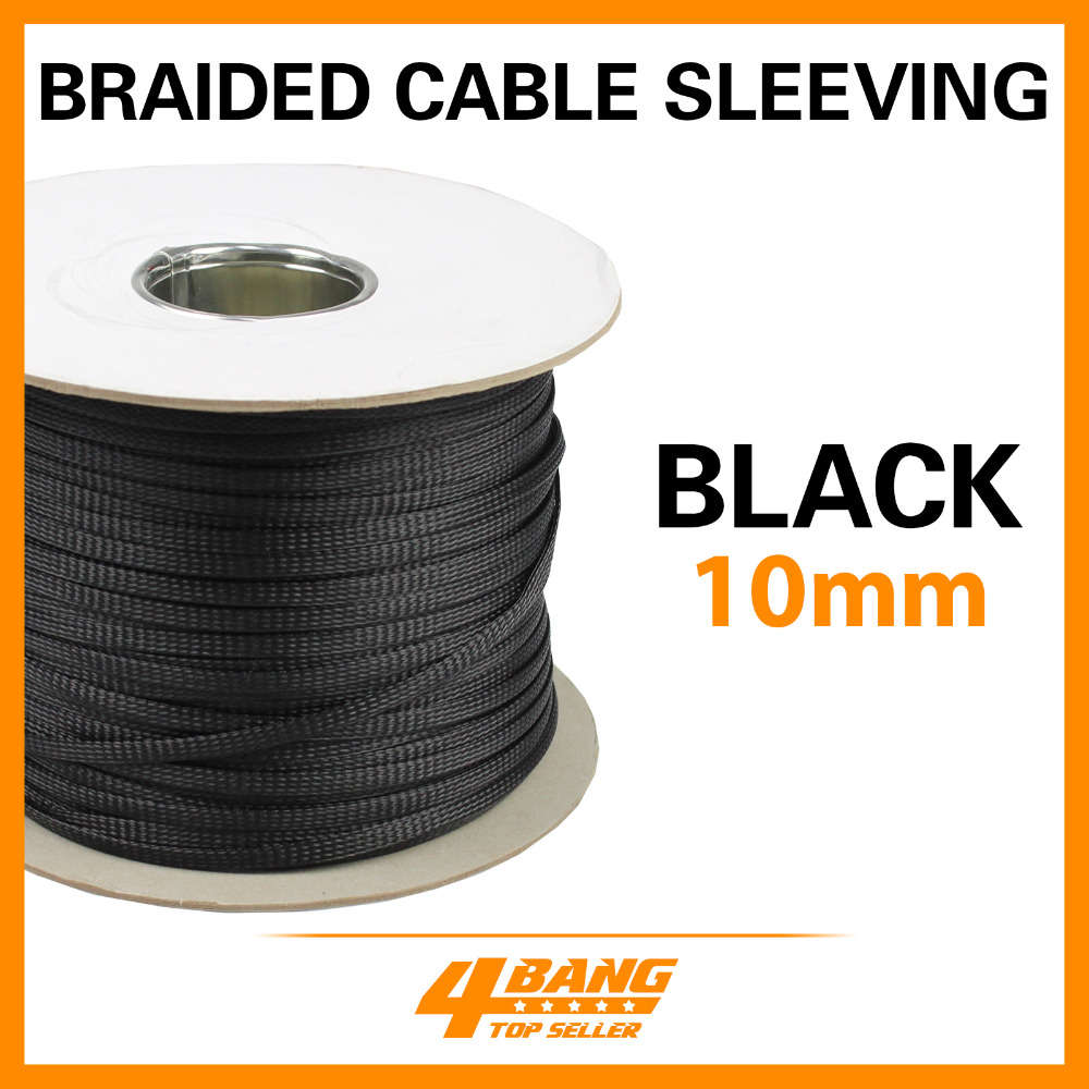 19ft Ylon Cable Wrap Expnadable Braided Sleeving Protector Guards 10mm Black