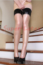 100% pure latex stockings siren stockings Transparent & Black  all size sexy fetish
