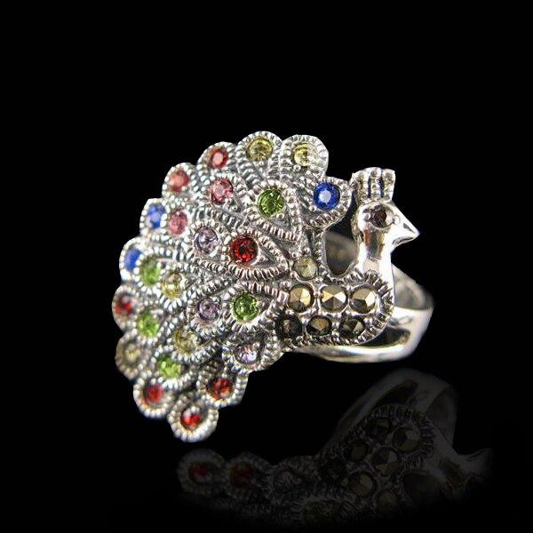 Bali Style rétro 925 en argent Sterling paon oiseau de Juno strass luxe Marcasite anneau cadeau d'anniversaire Court Top livraison gratuite