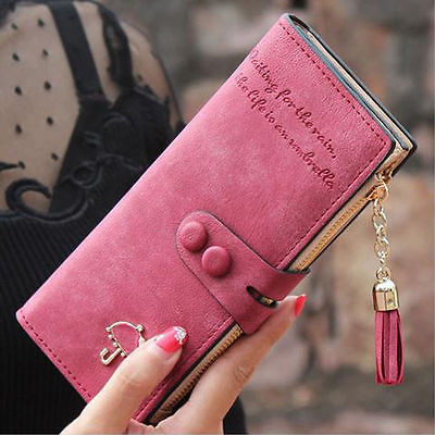 2017 New Fashion Womens Tassle Leather Clutch Wallet Zipper Button Handbag Long Card Holder Case Purse Handbag Xmas Wallet Women new arrivals fashion women pu leather zipper wallet clutch card holder purse lady long handbag dec26