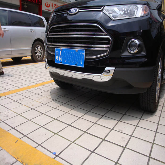 ABS Chrome front grill cover trim protector for 2013 2014 2015 Ford Ecosport Accessories high quality abs chrome 2pcs up grill trim lower grill trim grill decoration trim grill streamer for honda city 2015 216