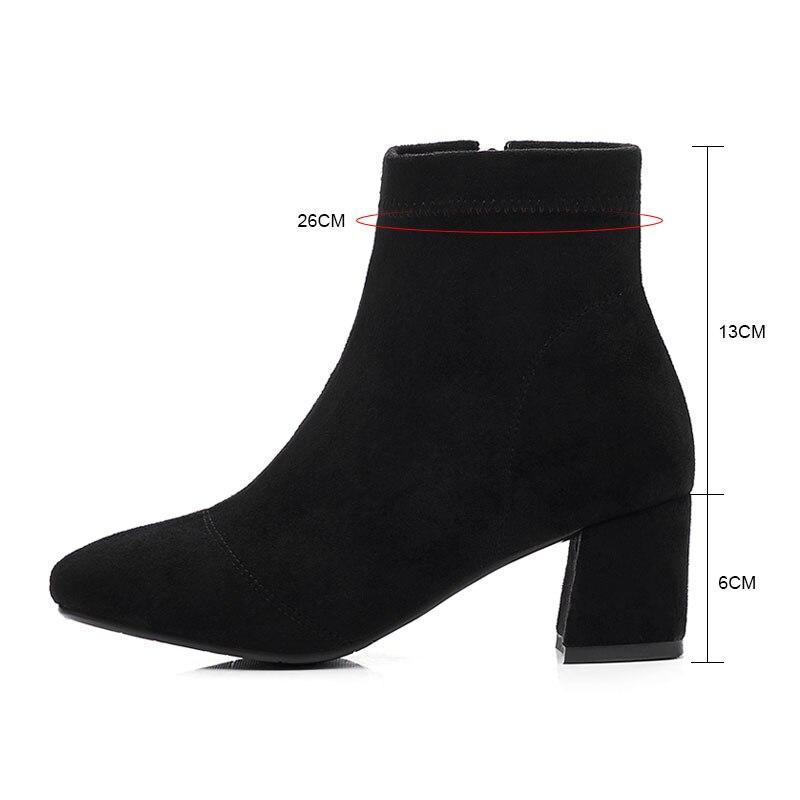 Größe Square Heel 33 Toe gray Arbeit Frauen Stiefeletten Solide 43 Black Flock Komfort Winter Mode Fanyuan High Stiefel Schuhe Zipper Zw5Cgnq
