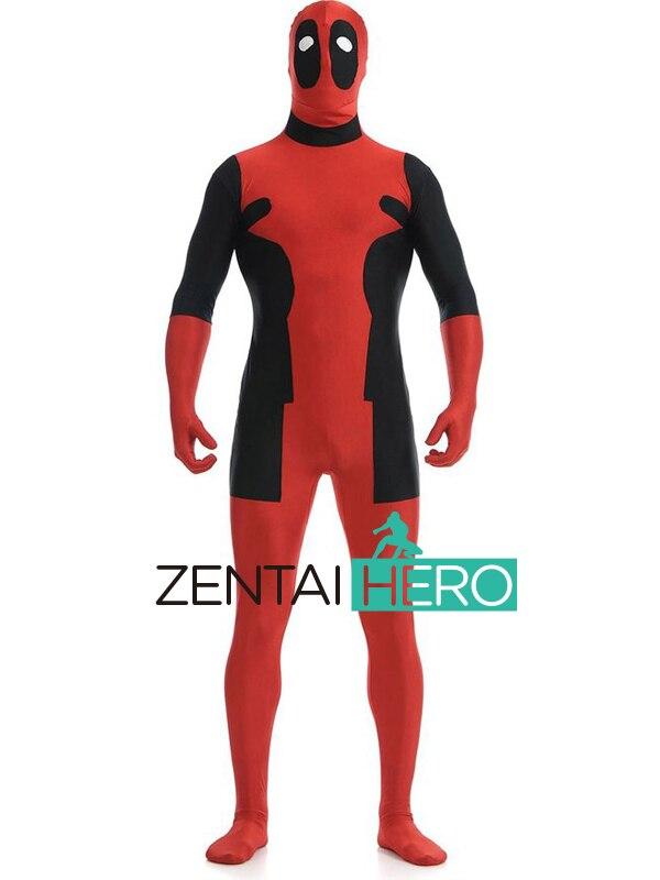 DHL envío libre fresco fuerte deadpool traje rojo y negro spandex  superhéroe masculino deadpool disfraces para Halloween 2016 2b1f20537ce0