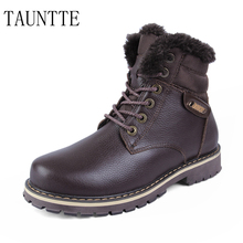 Autumn And Winter Plush Men Snow Boots Keep Warm Genuine Leather Ankle Boots Fashion Safety Boots Plus Size