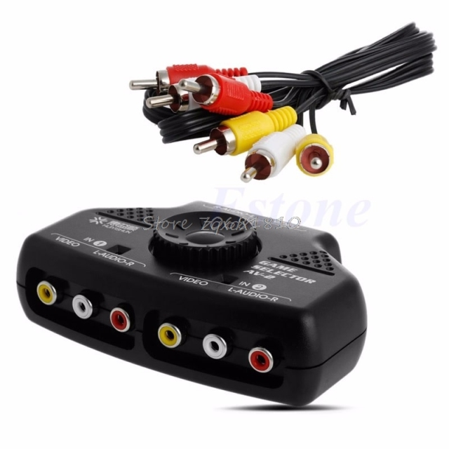 2 Way Audio Video AV RCA Game Selector Switch Box Splitter Cable