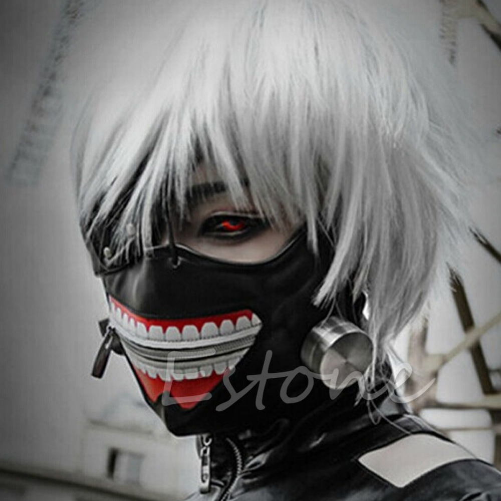 Adjustable Cosplay Costume Tokyo Ghoul Kaneki Ken Zipper Masks Halloween Party J