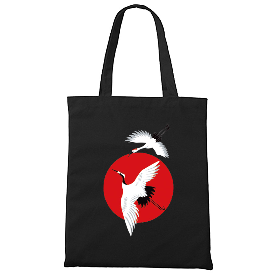 Japanese Style Canvas Bag Cotton High Quality Black Zipper Closure Japan Fish Animal Print Unisex Tote Bags