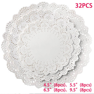 Image 5 - 32pcs/lot Placemat Wedding Baptism Birthday Party Cute White Round Lace Food Paper Mats Pads Craft Cake DIY Decoration