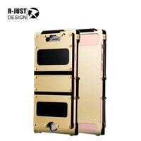 R-JUST高級ファッションロットデラックスアーマーキングブランド金属フリップケース用アップルiphone 6 6 sリベット鉄カバー用iphone6 6 sカバーwindowsシェ