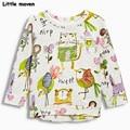 Little maven children brand clothing 2017 spring fashion girls cotton long sleeve O-neck hand-painted bird print t shirt CT060