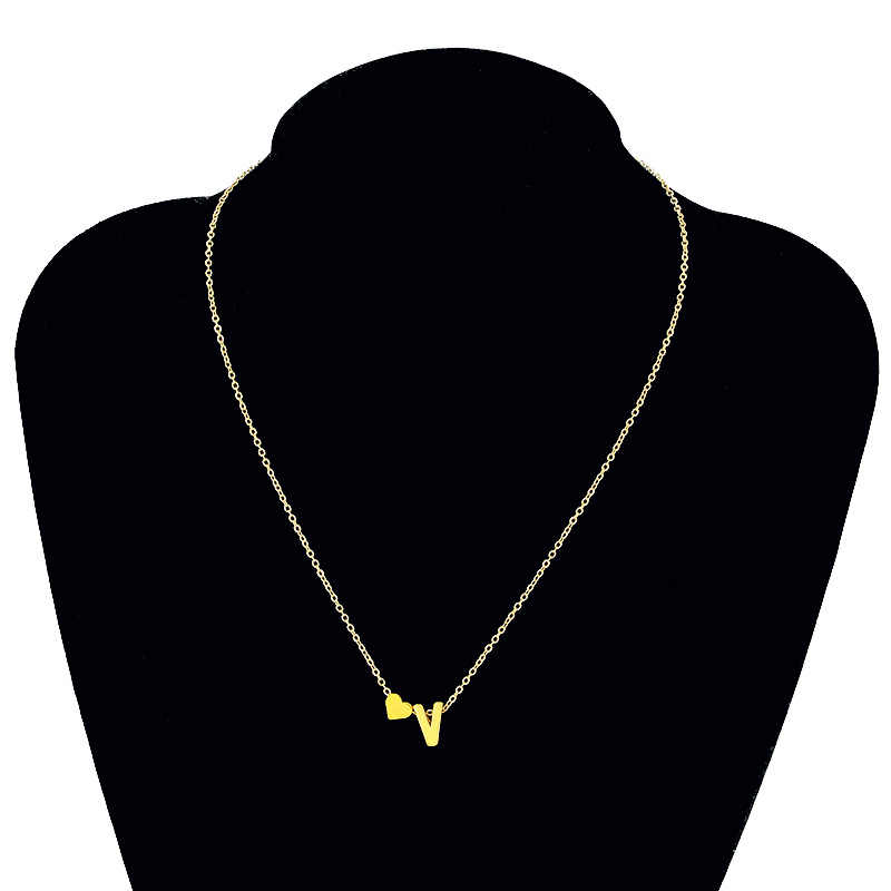Letter Heart Name Trendy Tiny Dainty Necklace for Women Initial Chain Pendant Statement Gold Necklaces Choker Dorp Jewelry