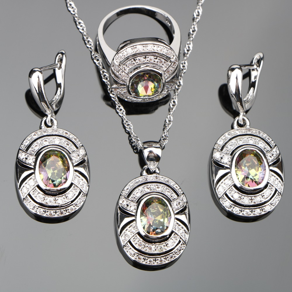2018 Magic Rainbow Stones 925 Silver Jewelry Sets Women Wedding Zircon Earrings Rings Pendants&Necklaces Set jewelery Gift Box
