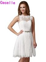 2017 Real Short Ivory Lace Bridesmaid Dresses Sleeveless A-line Boho Knee Length Casual Wedding Bridesmaid Robes Bohemian Cheap