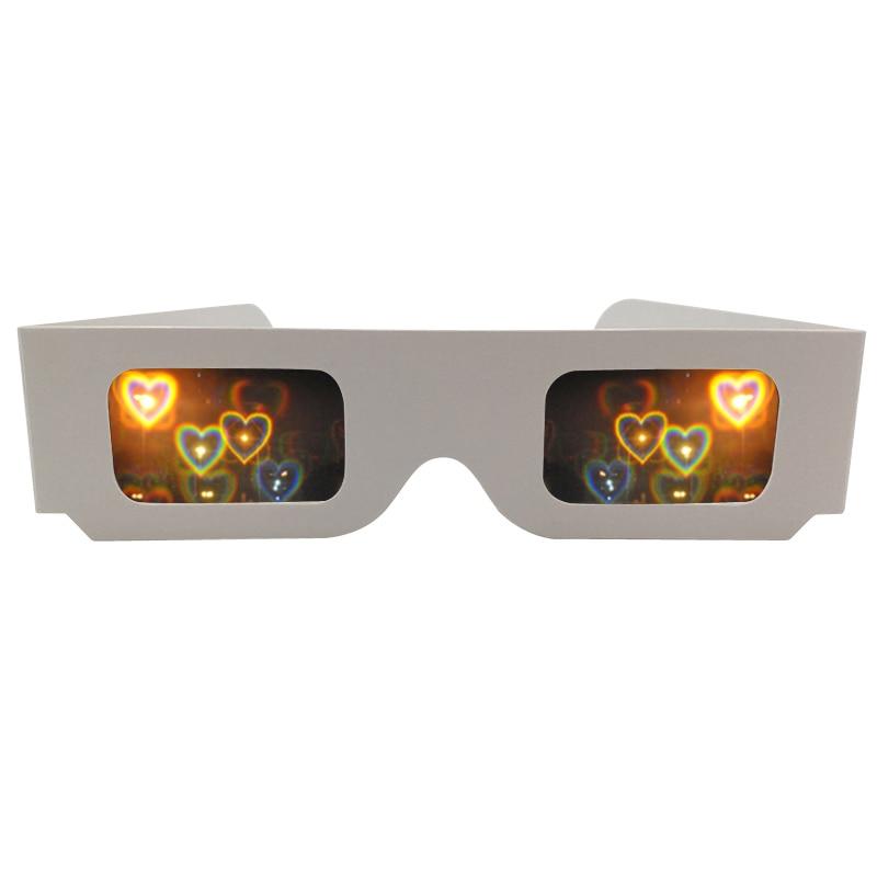 50pcs 3D Diffraction Heart Rainbow Gratings Glasses, White Paper Frame For Fireworks EDM Rave Laser Wedding Glasses