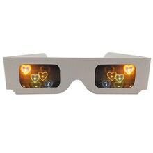 50pcs 3D Diffractie hart Regenboog Roosters Bril, Wit Papier Frame voor Vuurwerk EDM Rave Laser bruiloft bril