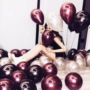 Image 5 - 50 ชิ้น/ถุง 5/10/12 นิ้ว Burgundy Pearl Latex Helium บอลลูนสีแดงพรรค Globos ทารกอาบน้ำเจ้าสาวงานแต่งงานวันเกิดตกแต่ง