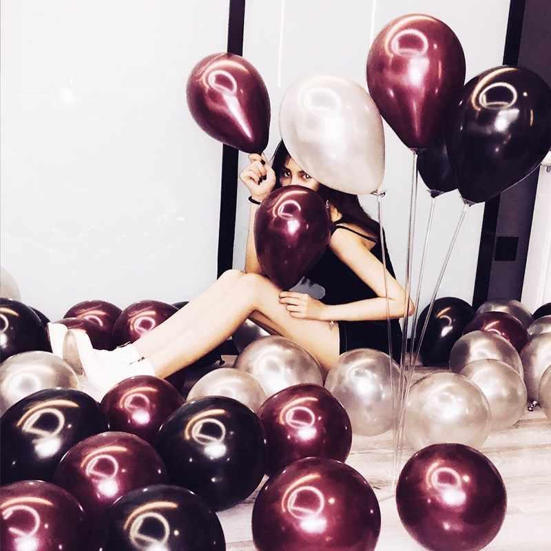 50 pièces/sac 5/10/12 pouces bordeaux perle Latex hélium ballons vin rouge fête Globos bébé mariée douche mariage anniversaire décor