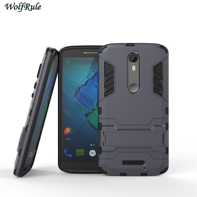 brand new c1b54 480c0 US $2.68 37% OFF|WolfRule For Cover Moto X Force Case Silicone & PC Stand  Shockproof Phone Case For Motorola Moto X Force Cover Droid Turbo 2 <-in ...