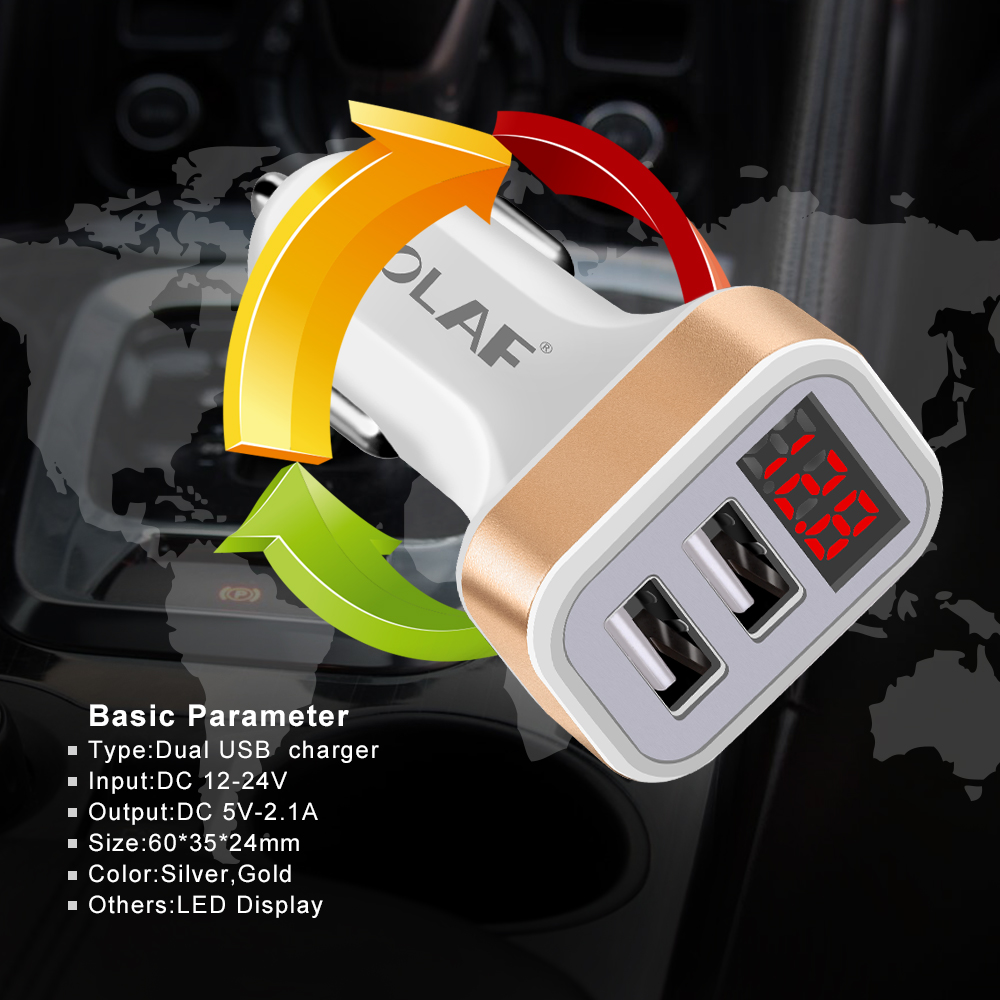 OLAF Dual USB Car Charger LED Digital Display GPS Auto Fast Charge Adapter USB Chargers For Samsung Xiaomi Tablet Car-Charger (4)
