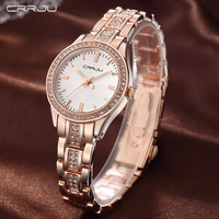 Fashion Brand CRRJU Watches Women Ladies Crystal Diamond Quartz Watch Luxury Rose Gold Wrist Watches For