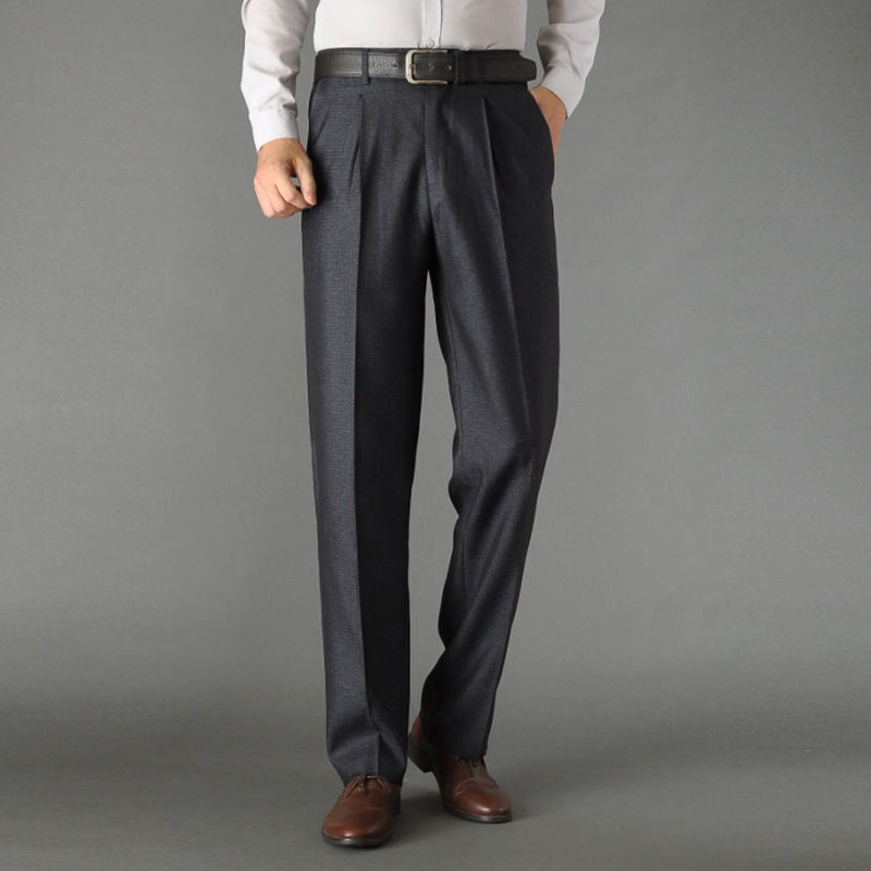New Autumn Formal Wedding Men Suit Pants For Father Fit Casual Non-ironing Business Straight Dress Trousers