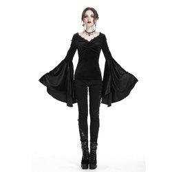Darkinlove Top gótico de terciopelo para mujer con mangas Flounce TW183