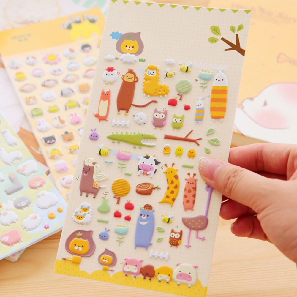 1PCS Animal Kingdom Zoo 3D Puffy Sticker Kids DIY Diary Album Scrapbooking Decor
