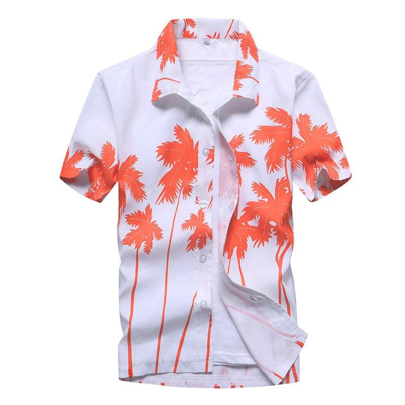 2021 Fashion Mens Short Sleeve Hawaiian Shirt Fast drying Plus Size Asian Size M-5XL Summer Casual Floral Beach Shirts For Men 3