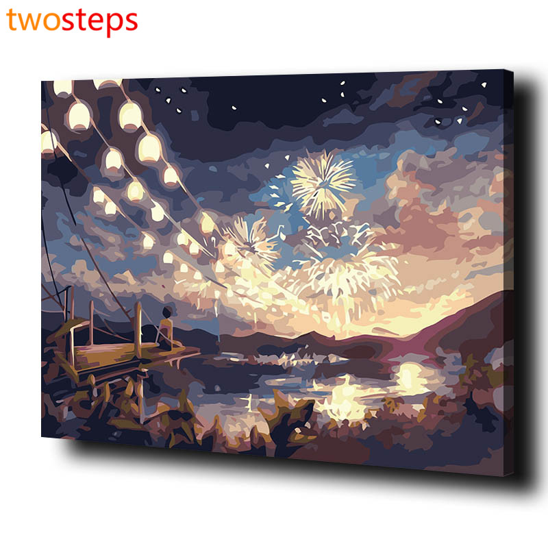 TwoSteps DIY Digital Canvas Oil Painting By Numbers Framed Coloring By Numbers Large Acrylic Paint By Number Kits Fireworks Sky