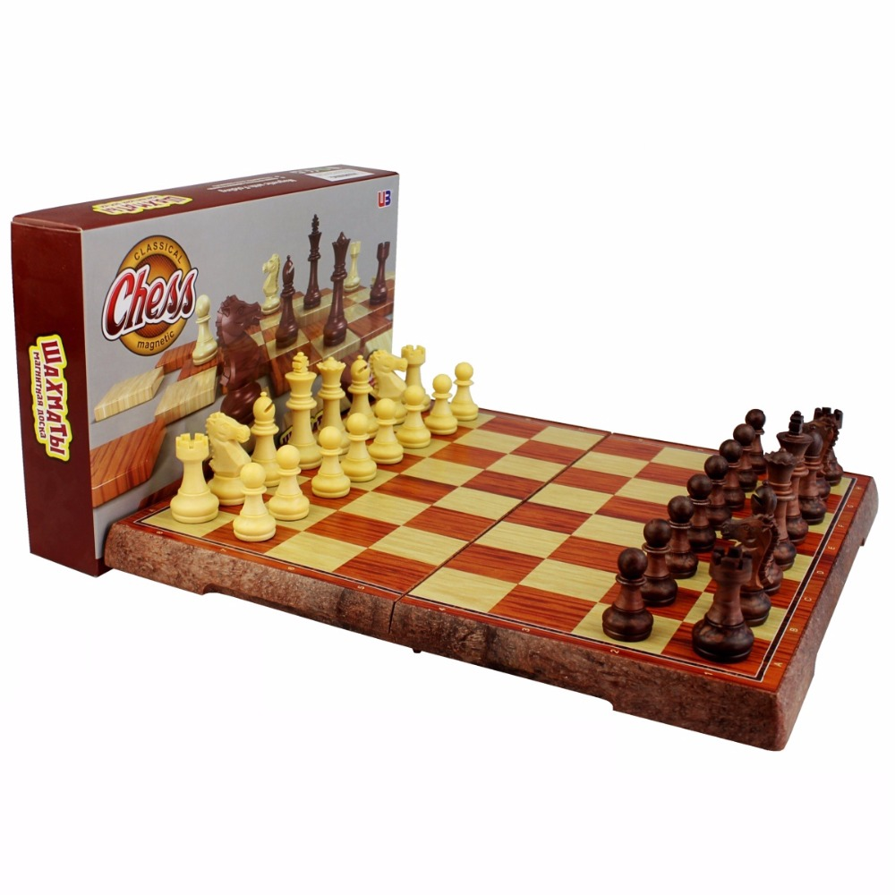 International Chess Checkers Folding Magnetic High-grade wood grain Board Chess Game English version three Sizes high quality magnetic chess large high grade imitation mahogany chess wood wpc chess high impact plastic materials