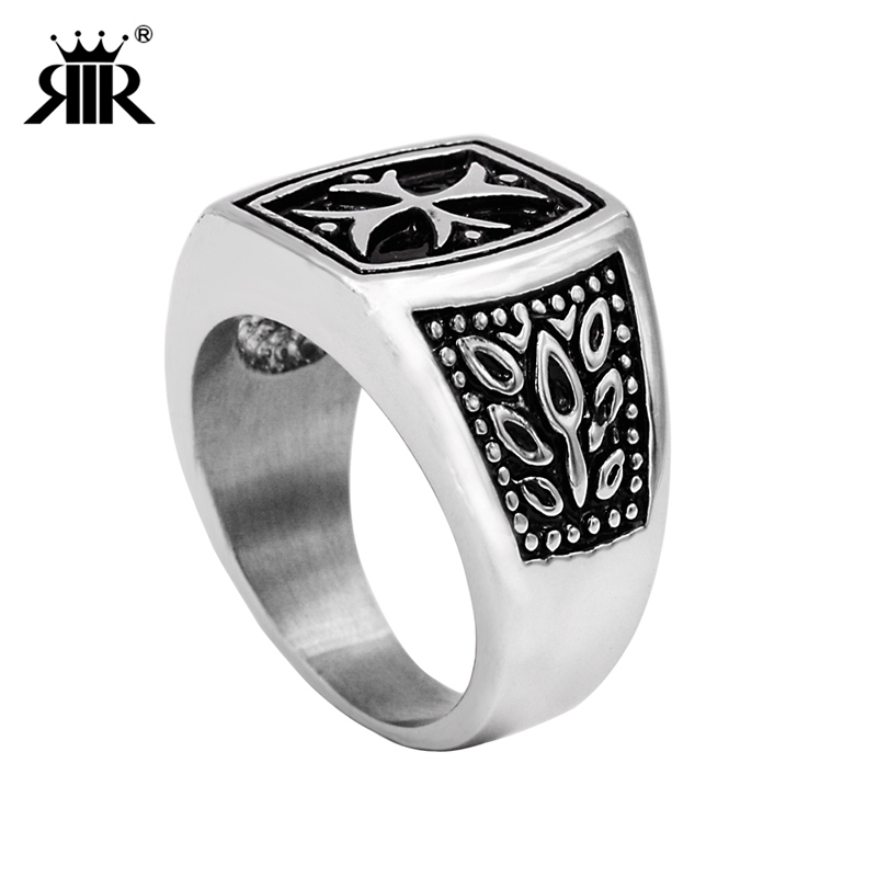 RIR Retro rock funk style Stainless Steel New Design silver black Cross Fashion jewelry ring For