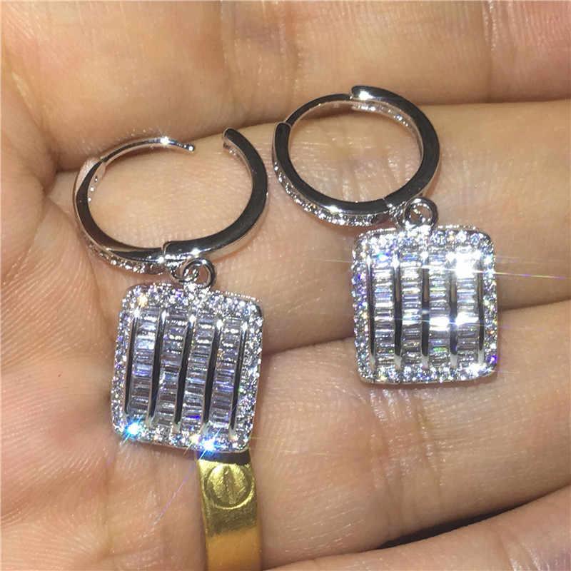2018 Fashion Drop Earring 925 sterling silver Princess cut AAAAA Zircon Cz Party wedding Dangle Earrings for women Jewelry Gift